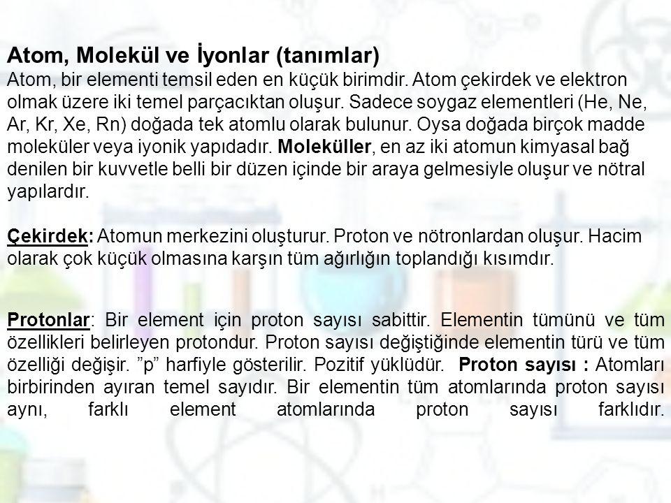 Atom, Molekül ve İyonlar (tanımlar)