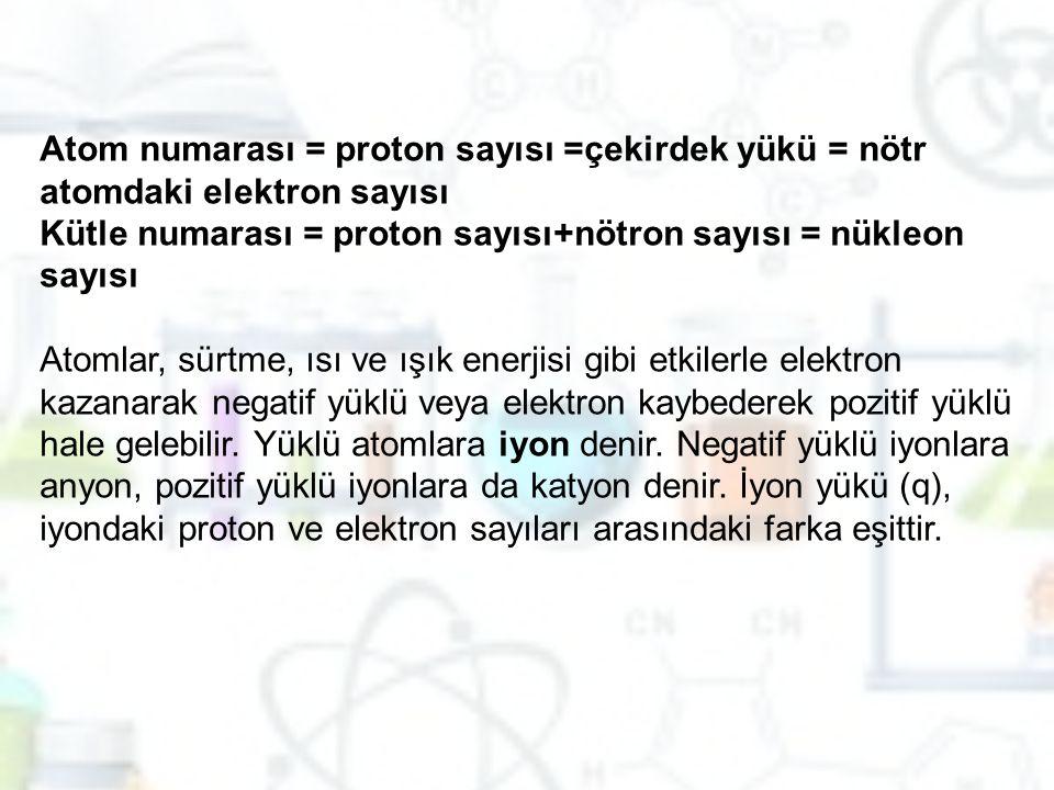 Atom numarası = proton sayısı =çekirdek yükü = nötr atomdaki elektron sayısı Kütle numarası = proton sayısı+nötron sayısı = nükleon sayısı