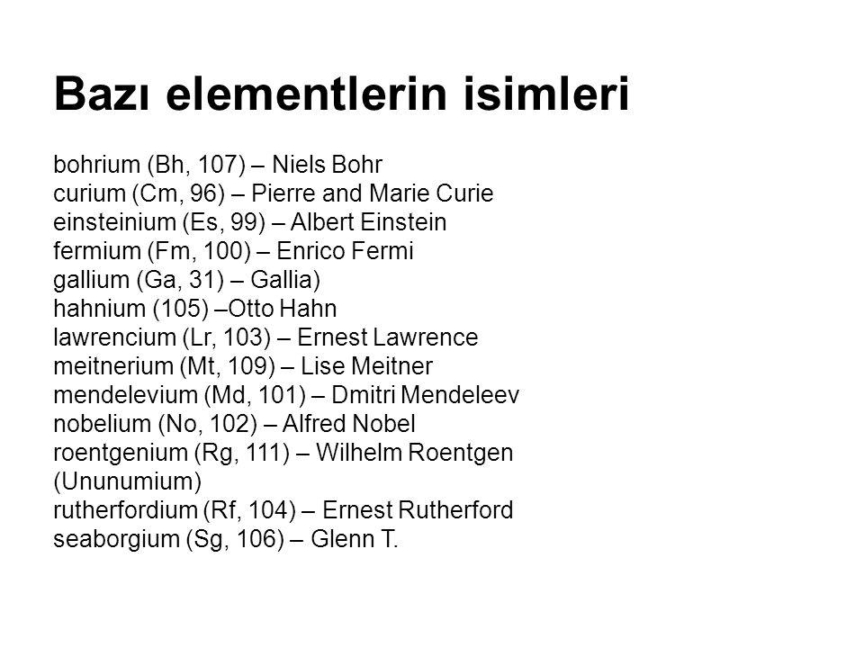 Bazı elementlerin isimleriazıntlerin isimleri