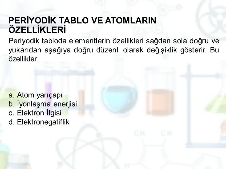 PERİYODİK TABLO VE ATOMLARIN ÖZELLİKLERİ