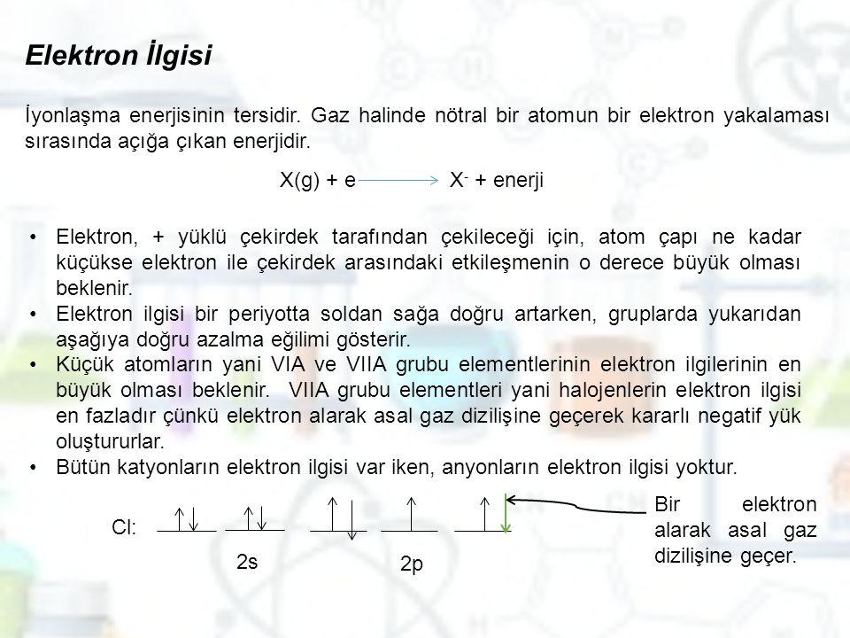 Elektron İlgisi İyonlaşma enerjisinin tersidir. Gaz halinde nötral bir atomun bir elektron yakalaması sırasında açığa çıkan enerjidir.