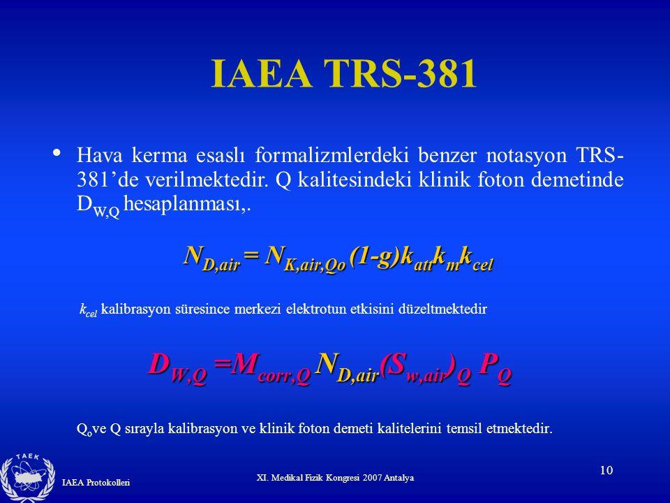 IAEA TRS-381 DW,Q =Mcorr,Q ND,air(Sw,air)Q PQ