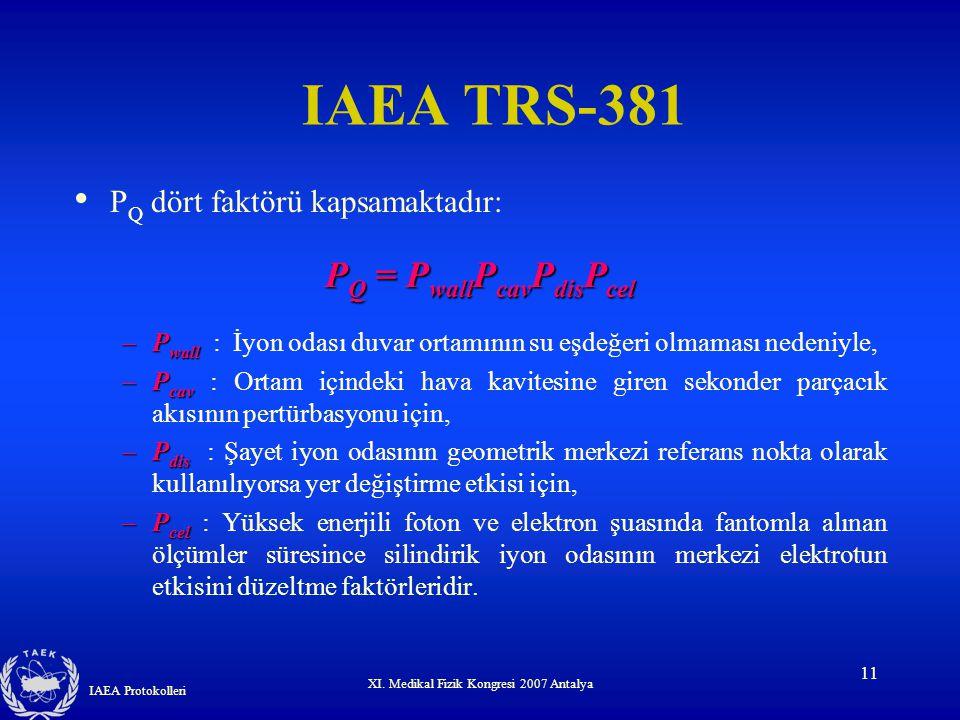 IAEA TRS-381 PQ = PwallPcavPdisPcel PQ dört faktörü kapsamaktadır: