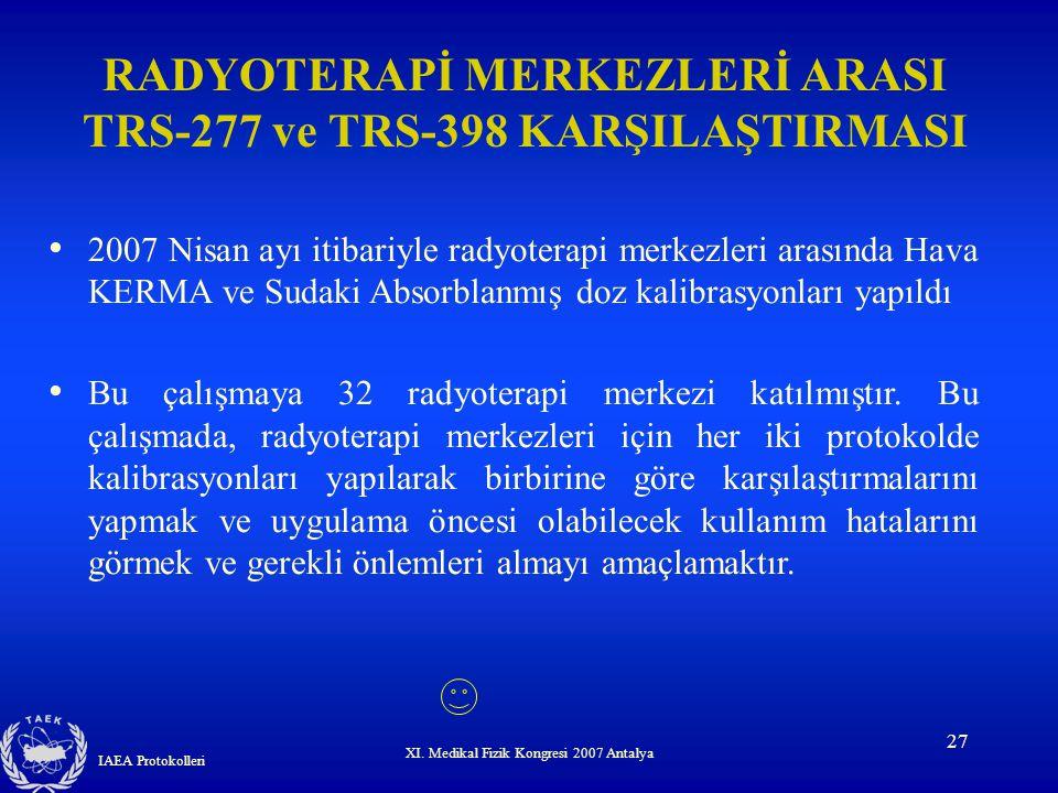RADYOTERAPİ MERKEZLERİ ARASI TRS-277 ve TRS-398 KARŞILAŞTIRMASI