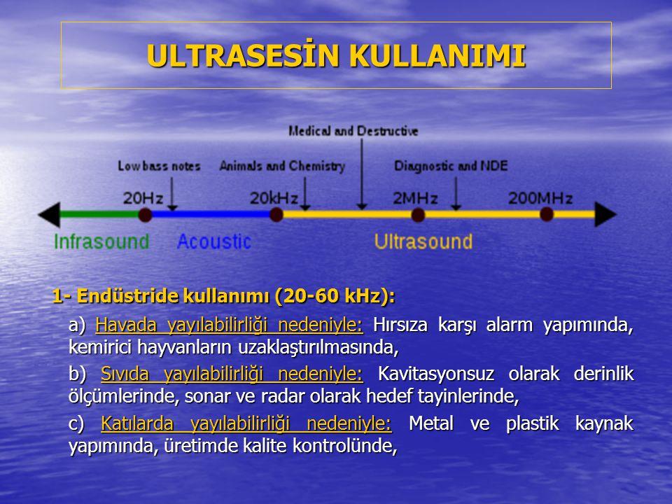 ULTRASESİN KULLANIMI 1- Endüstride kullanımı (20-60 kHz):