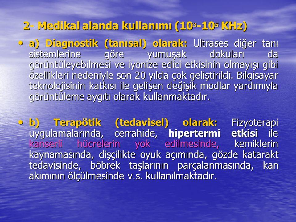 2- Medikal alanda kullanımı (103-105 KHz)