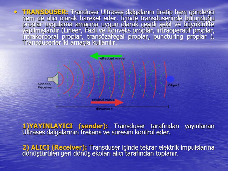 TRANSDUSER: Tranduser Ultrases dalgalarını üretip hem gönderici hem de alıcı olarak hareket eder. İçinde transduserinde bulunduğu proplar uygulama amacına uygun olarak çeşitli şekil ve büyüklükte yapılmışlardır (Lineer, Fazlı ve Konveks proplar, intraoperatif proplar, intrakorporal proplar, transözafegal proplar, puncturing proplar ). Transduserler iki amaçla kullanılır.