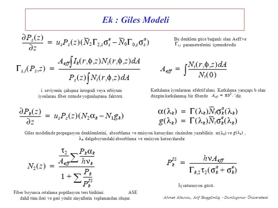Bu denklem güce bağımlı olan Aeff ve parametrelerini içermektedir.