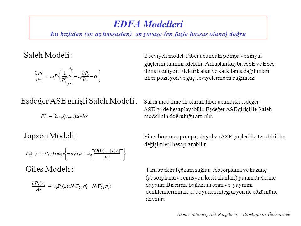 EDFA Modelleri En hızlıdan (en az hassastan) en yavaşa (en fazla hassas olana) doğru