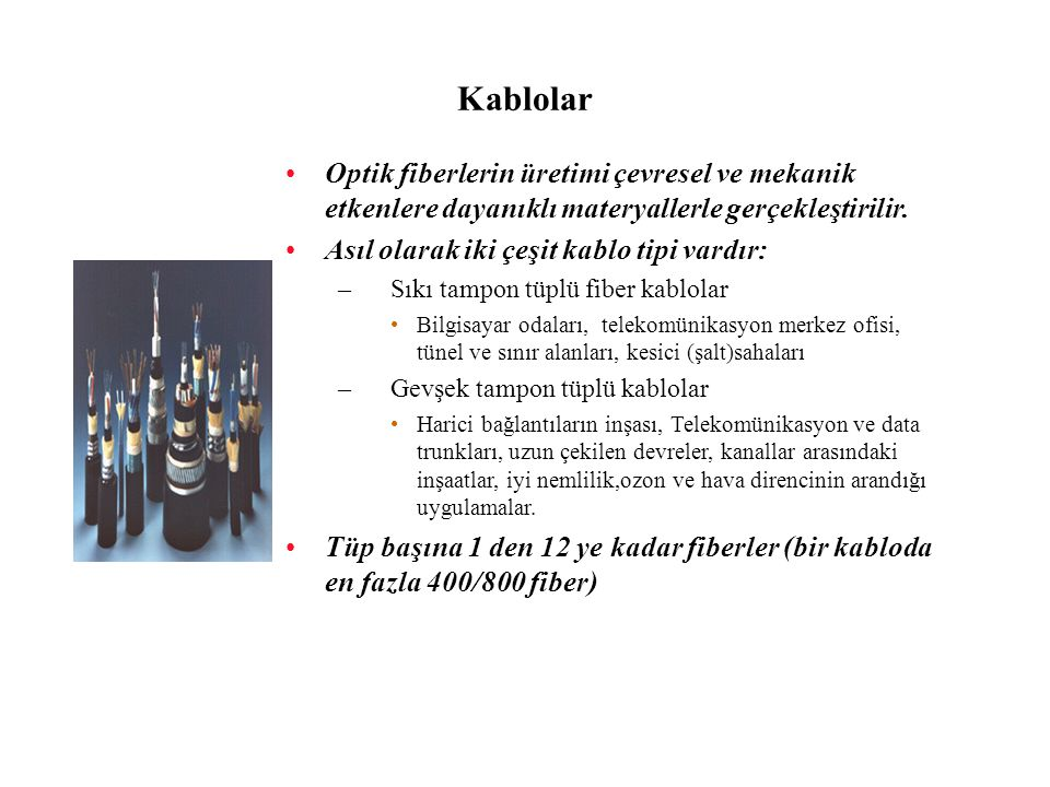 Kablolar Optik fiberlerin üretimi çevresel ve mekanik etkenlere dayanıklı materyallerle gerçekleştirilir.