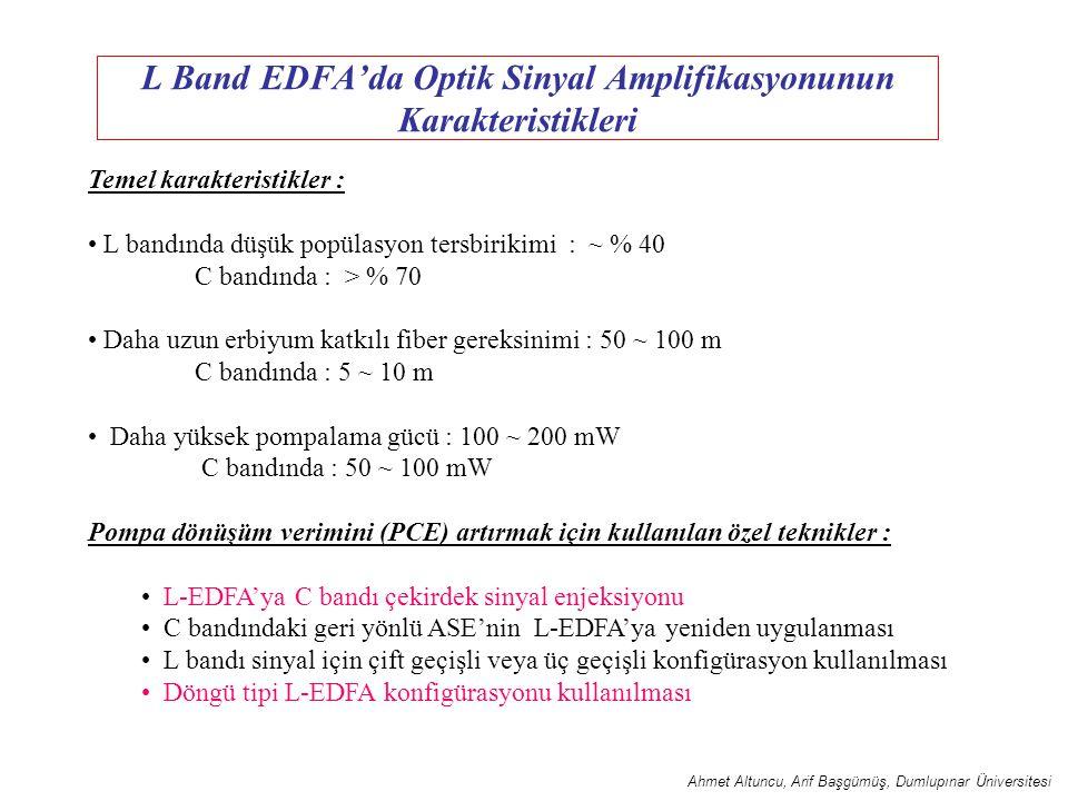 L Band EDFA'da Optik Sinyal Amplifikasyonunun Karakteristikleri