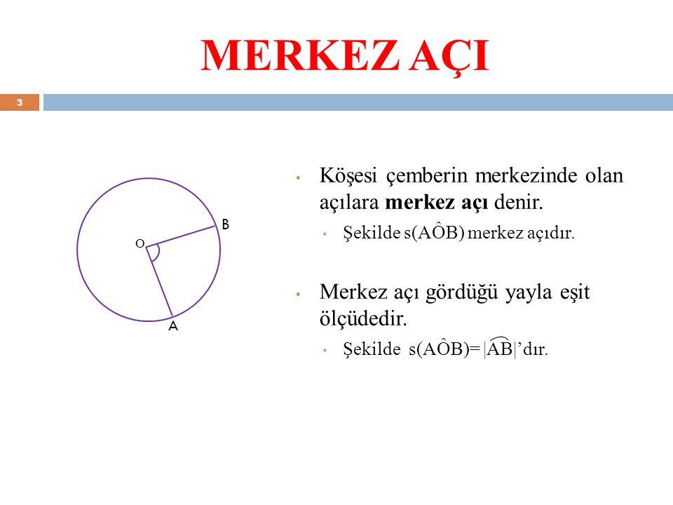 MERKEZ AÇI Köşesi çemberin merkezinde olan açılara merkez açı denir.