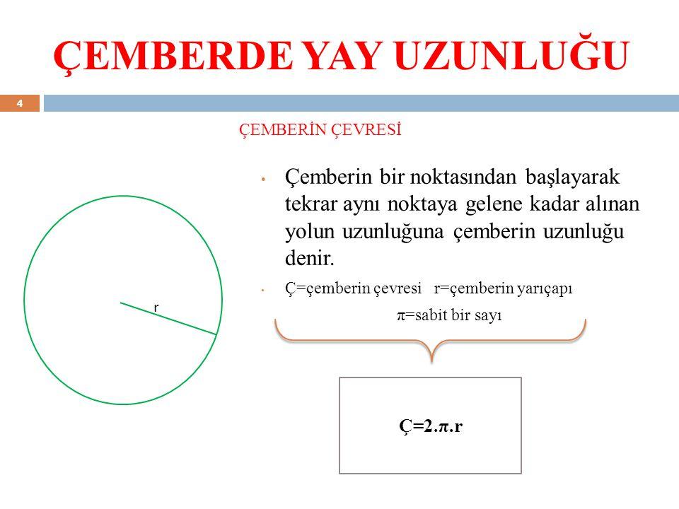 ÇEMBERDE YAY UZUNLUĞU ÇEMBERİN ÇEVRESİ.