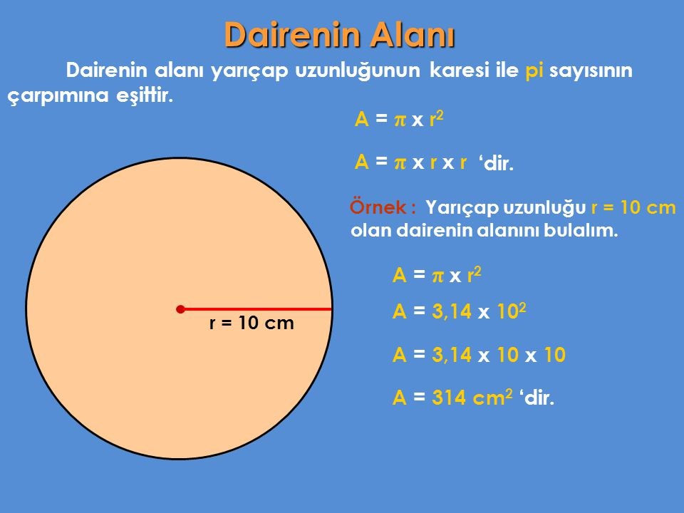 Dairenin Alanı Dairenin alanı yarıçap uzunluğunun karesi ile pi sayısının çarpımına eşittir. A = π x r2.