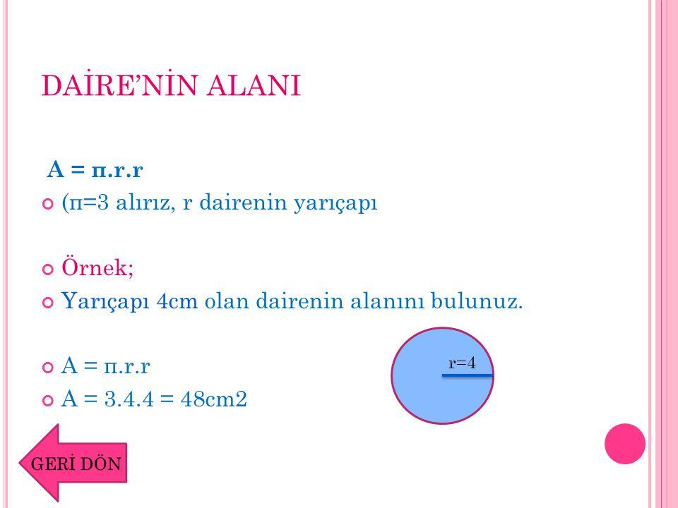 DAİRE'NİN ALANI A = π.r.r (π=3 alırız, r dairenin yarıçapı Örnek;