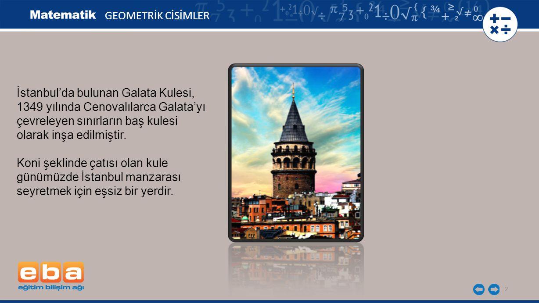 GEOMETRİK CİSİMLER İstanbul'da bulunan Galata Kulesi, 1349 yılında Cenovalılarca Galata'yı. çevreleyen sınırların baş kulesi.