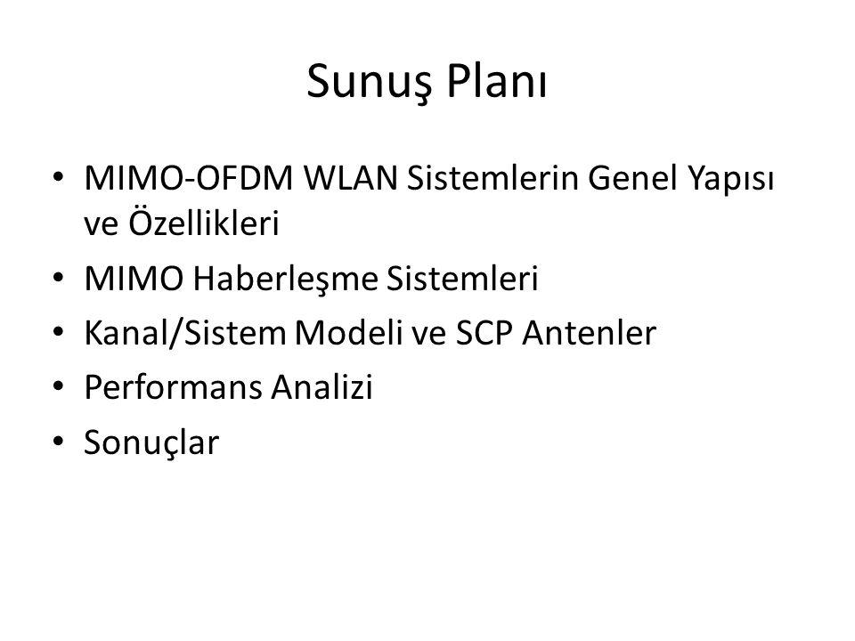Sunuş Planı MIMO-OFDM WLAN Sistemlerin Genel Yapısı ve Özellikleri