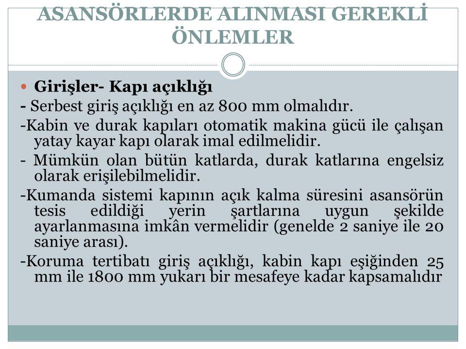 ASANSÖRLERDE ALINMASI GEREKLİ ÖNLEMLER