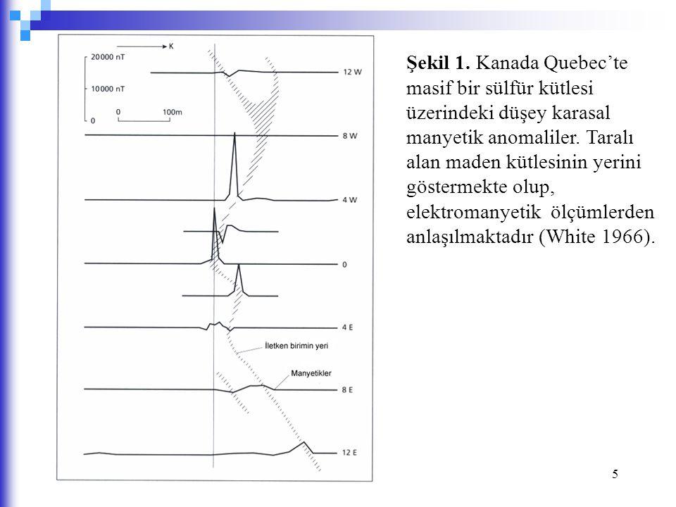 Şekil 1. Kanada Quebec'te masif bir sülfür kütlesi üzerindeki düşey karasal manyetik anomaliler.