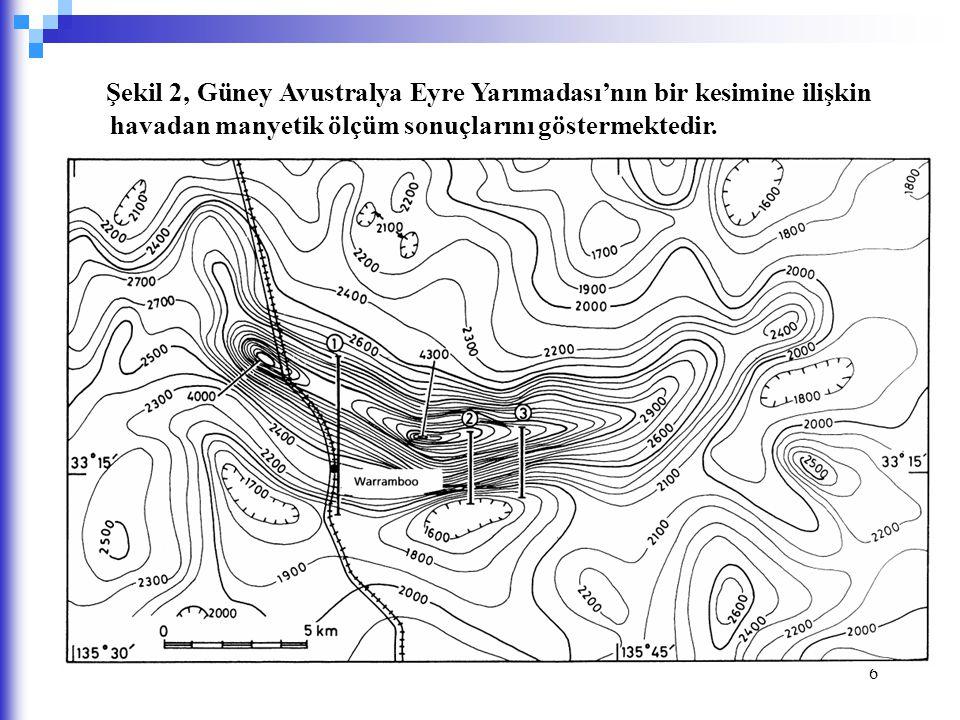 Şekil 2, Güney Avustralya Eyre Yarımadası'nın bir kesimine ilişkin havadan manyetik ölçüm sonuçlarını göstermektedir.