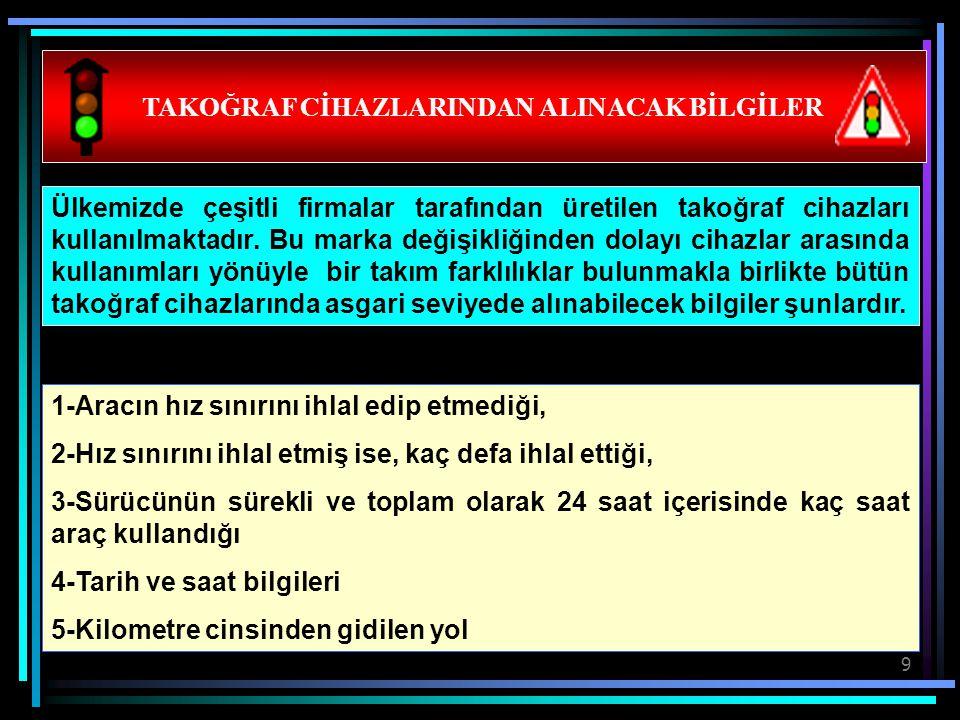 TAKOĞRAF CİHAZLARINDAN ALINACAK BİLGİLER