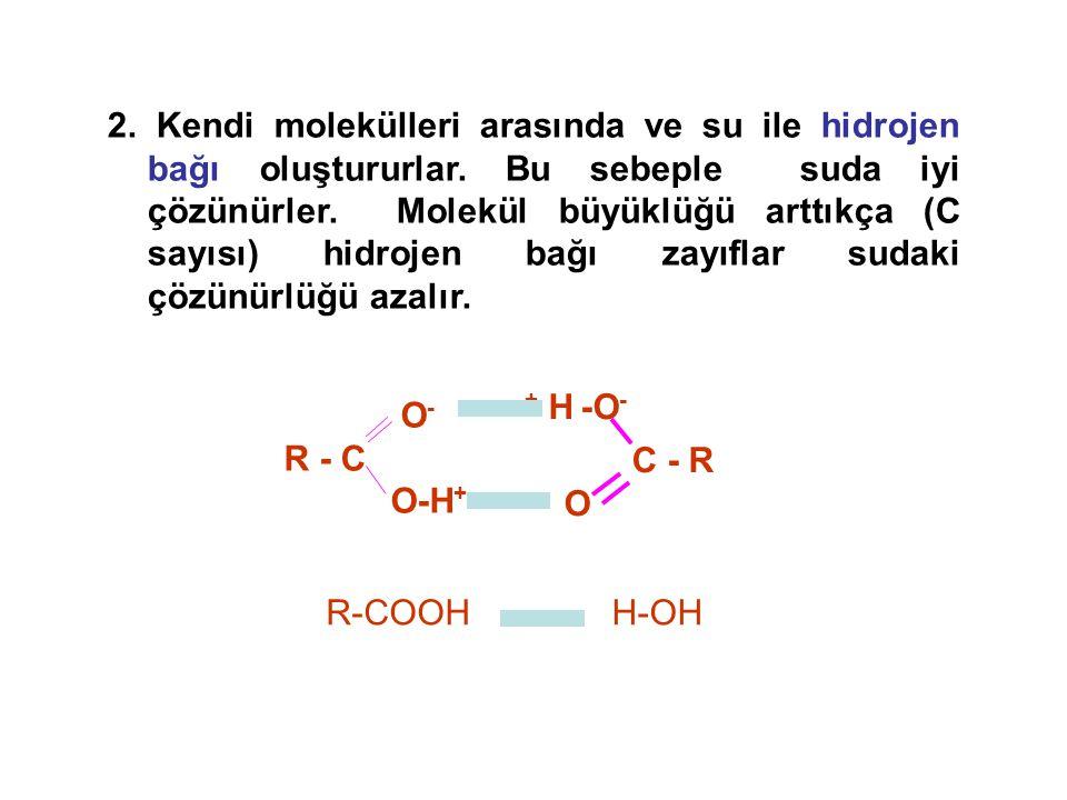 2. Kendi molekülleri arasında ve su ile hidrojen bağı oluştururlar