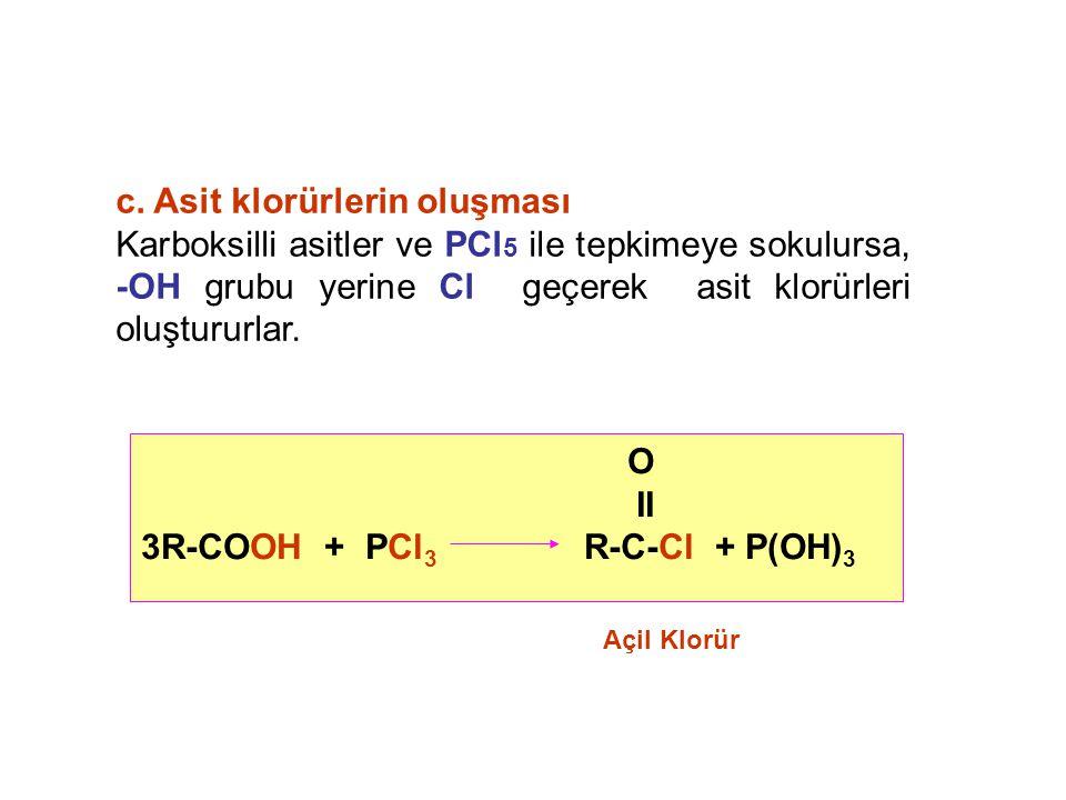 c. Asit klorürlerin oluşması