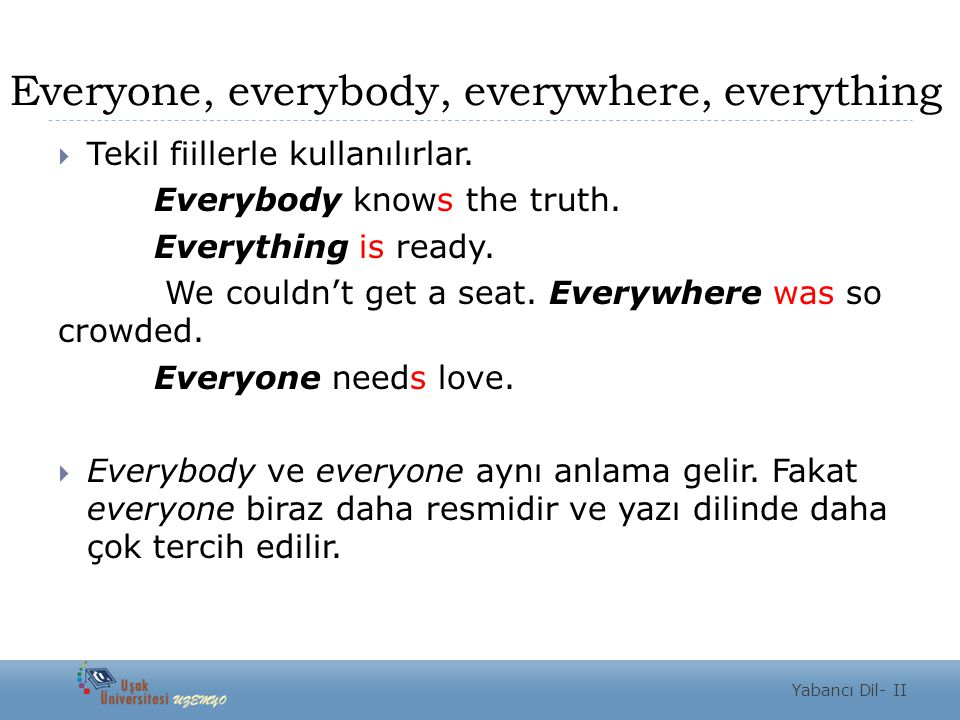 Everyone, everybody, everywhere, everything