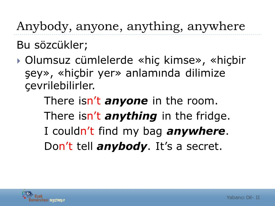 Anybody, anyone, anything, anywhere
