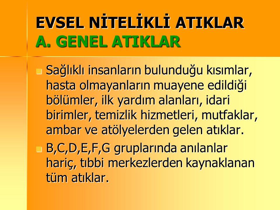 EVSEL NİTELİKLİ ATIKLAR A. GENEL ATIKLAR