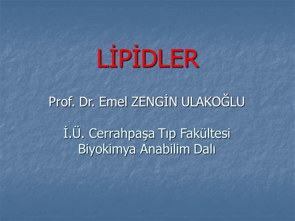 LİPİDLER Prof. Dr. Emel ZENGİN ULAKOĞLU İ.Ü. Cerrahpaşa Tıp Fakültesi