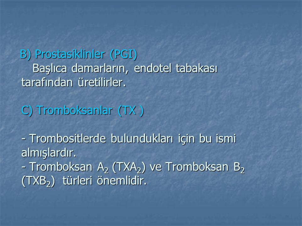 B) Prostasiklinler (PGI) Başlıca damarların, endotel tabakası tarafından üretilirler.