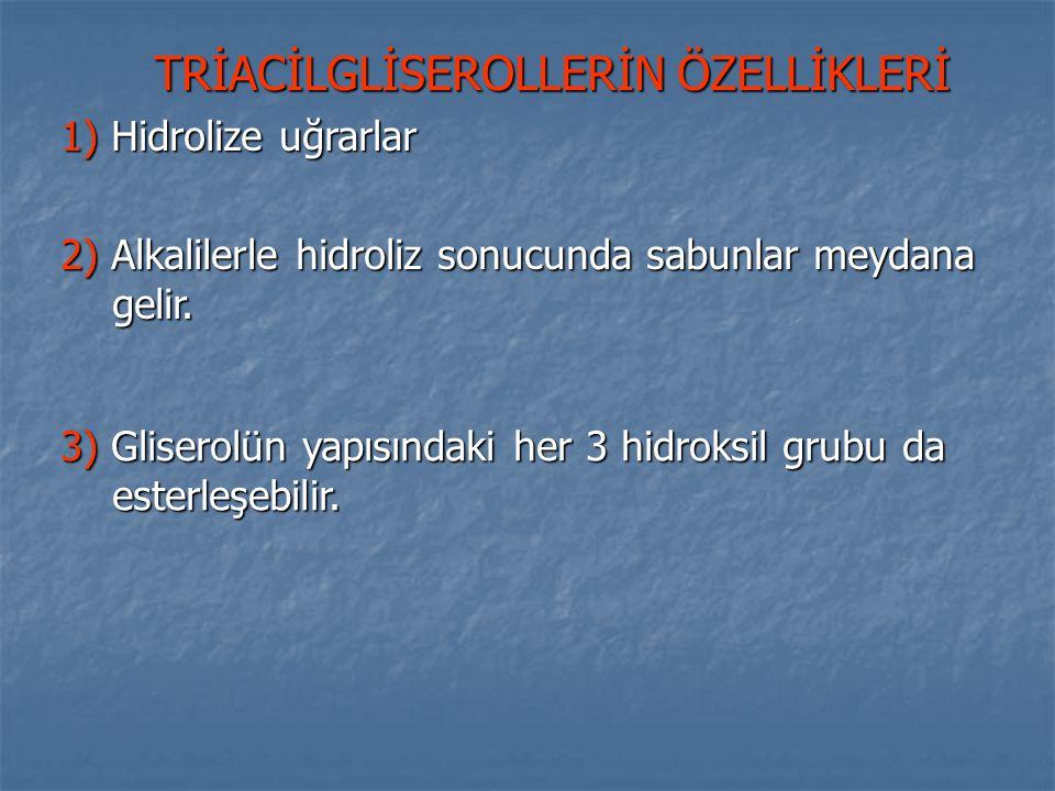 TRİACİLGLİSEROLLERİN ÖZELLİKLERİ
