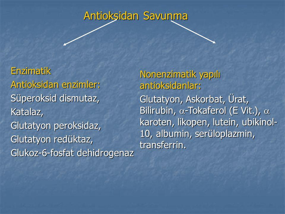 Antioksidan Savunma Enzimatik Nonenzimatik yapılı antioksidanlar:
