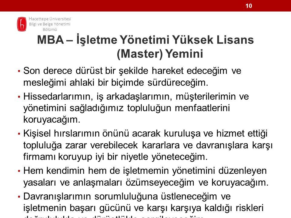 MBA – İşletme Yönetimi Yüksek Lisans (Master) Yemini