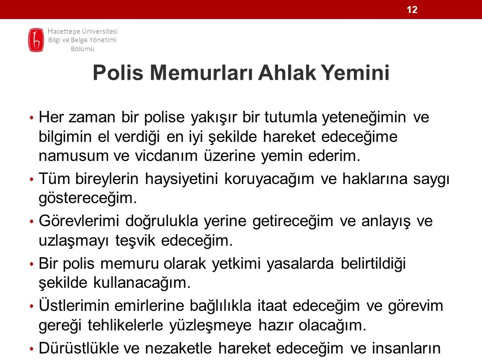 Polis Memurları Ahlak Yemini