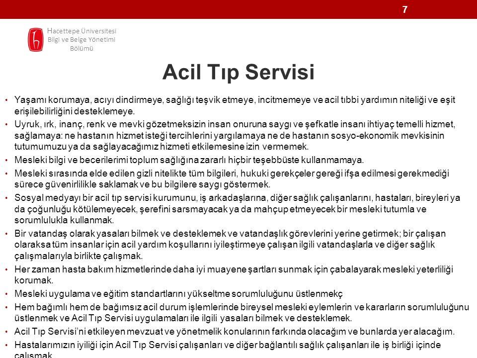 Hacettepe Üniversitesi Bilgi ve Belge Yönetimi Bölümü