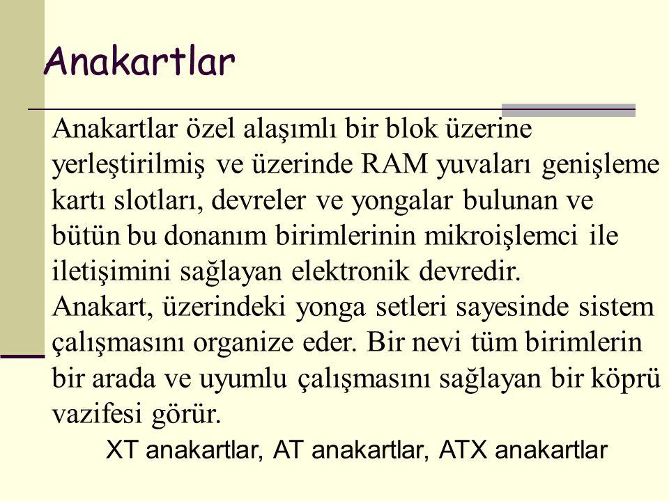 XT anakartlar, AT anakartlar, ATX anakartlar
