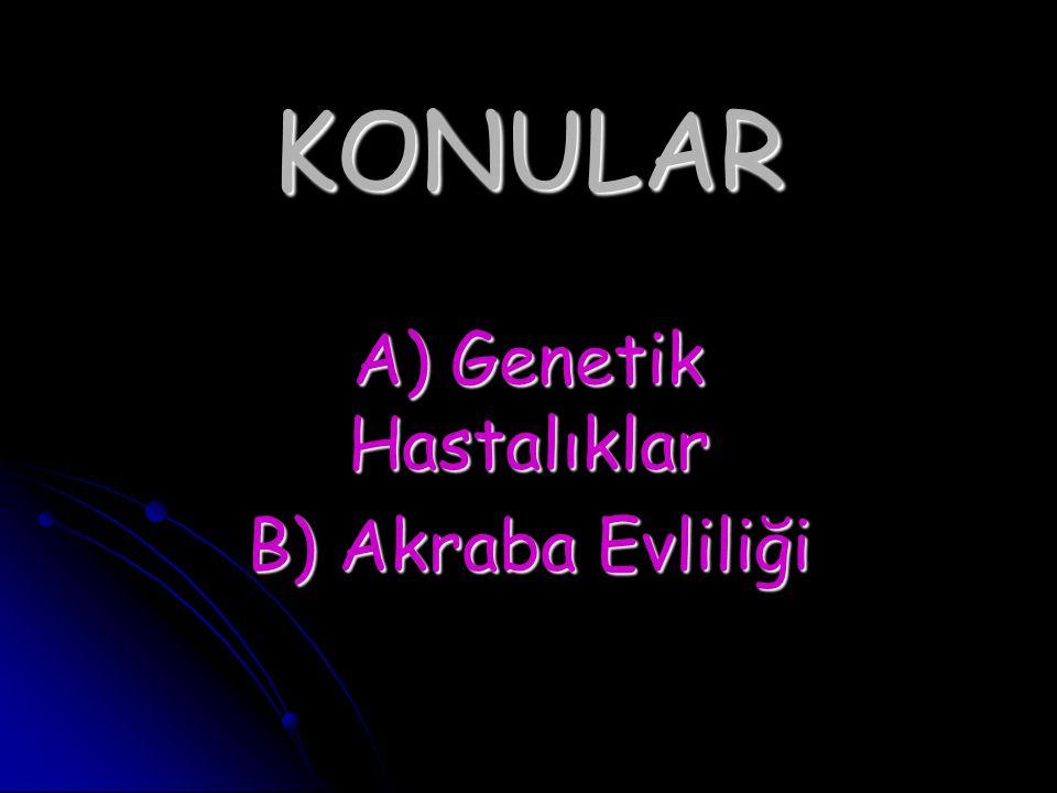 A) Genetik Hastalıklar B) Akraba Evliliği