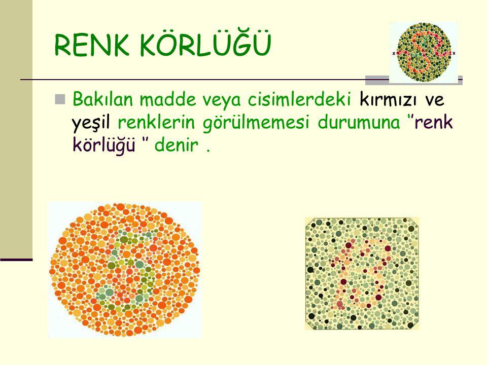 RENK KÖRLÜĞÜ Bakılan madde veya cisimlerdeki kırmızı ve yeşil renklerin görülmemesi durumuna ''renk körlüğü '' denir .