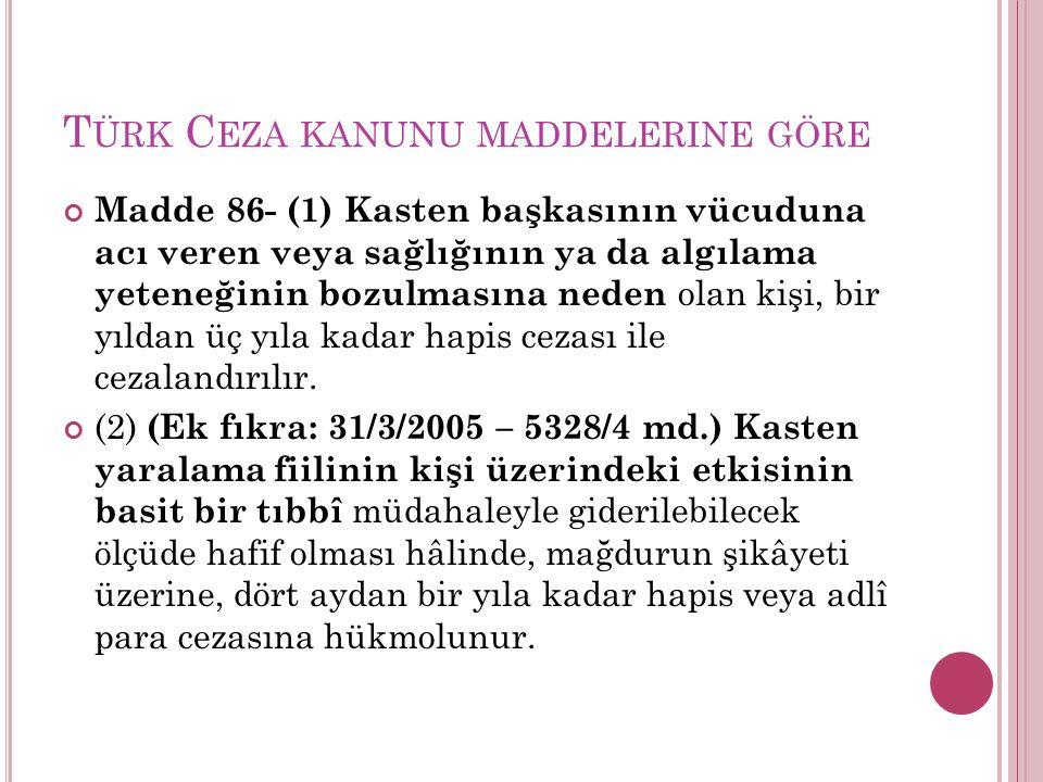 Türk Ceza kanunu maddelerine göre