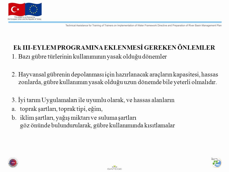 Ek III-EYLEM PROGRAMINA EKLENMESİ GEREKEN ÖNLEMLER