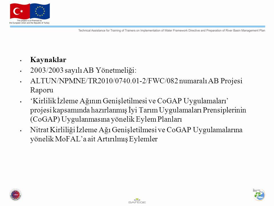 Kaynaklar 2003/2003 sayılı AB Yönetmeliği: ALTUN/NPMNE/TR2010/0740.01-2/FWC/082 numaralı AB Projesi Raporu.