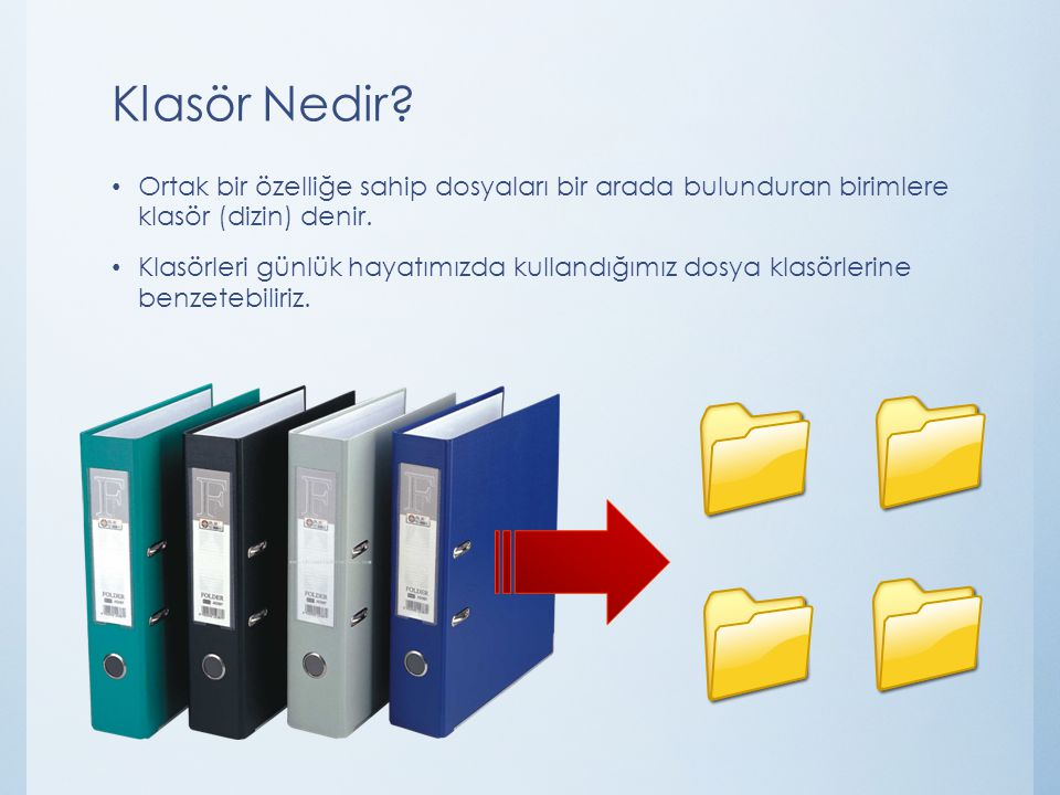 Klasör Nedir Ortak bir özelliğe sahip dosyaları bir arada bulunduran birimlere klasör (dizin) denir.