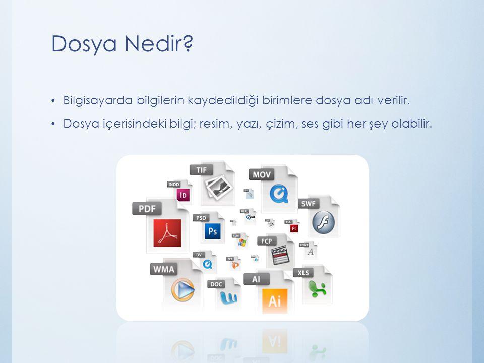 Dosya Nedir Bilgisayarda bilgilerin kaydedildiği birimlere dosya adı verilir.