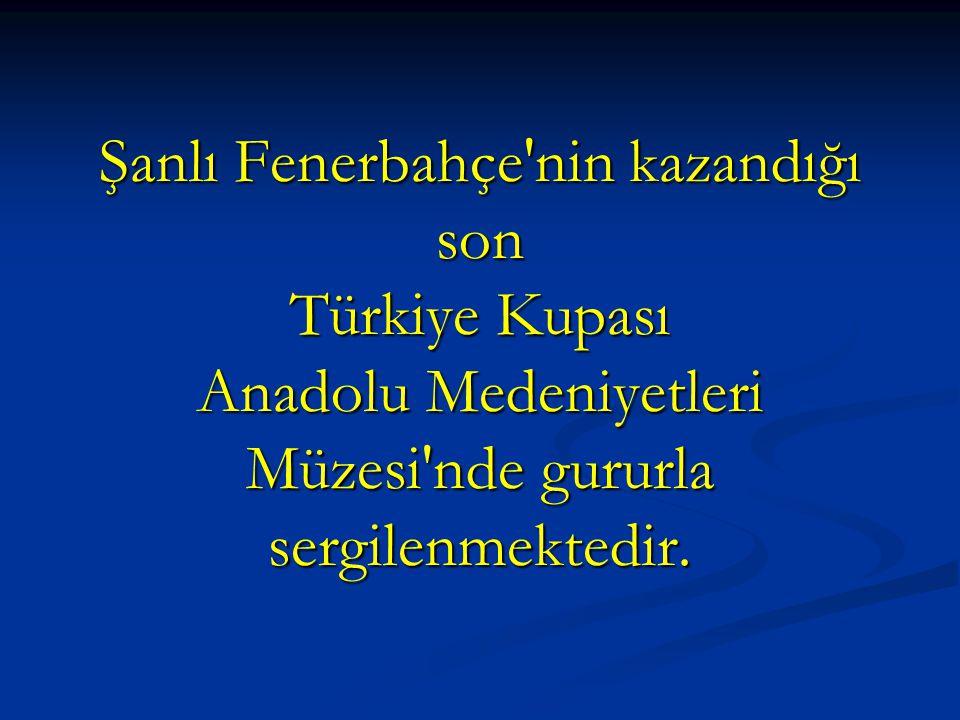 Şanlı Fenerbahçe nin kazandığı son Türkiye Kupası Anadolu Medeniyetleri Müzesi nde gururla sergilenmektedir.