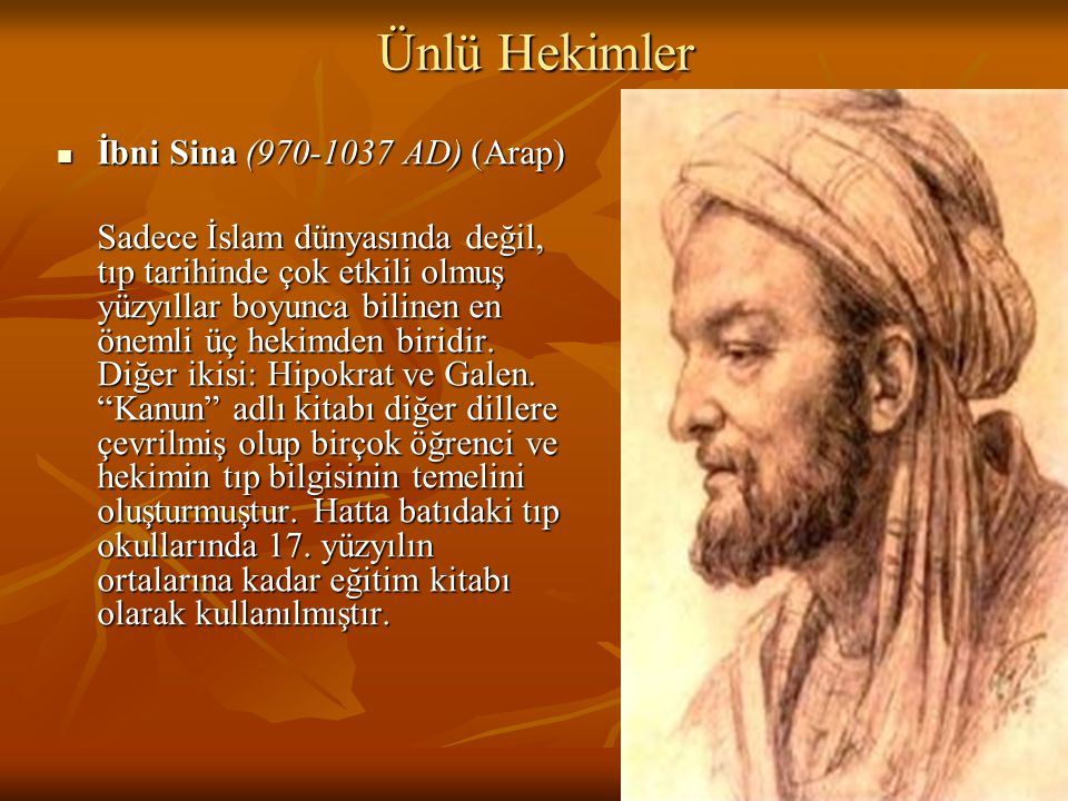 Ünlü Hekimler İbni Sina (970-1037 AD) (Arap)