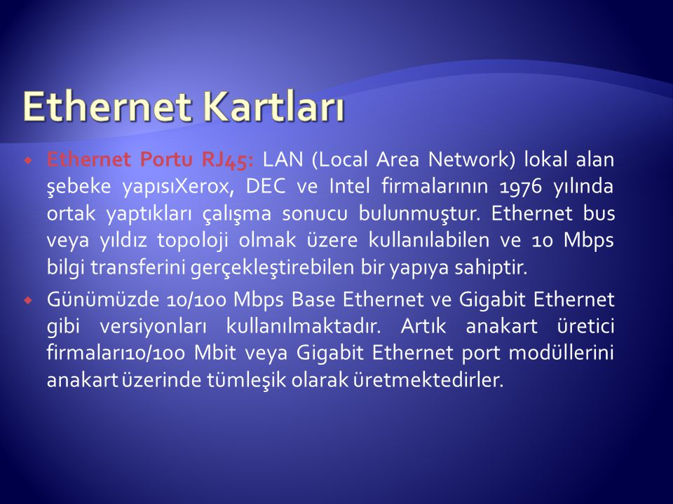 Ethernet Kartları