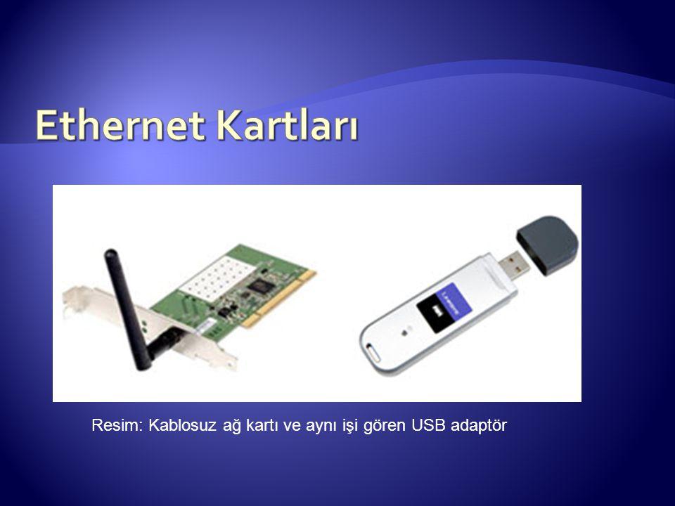 Ethernet Kartları Resim: Kablosuz ağ kartı ve aynı işi gören USB adaptör