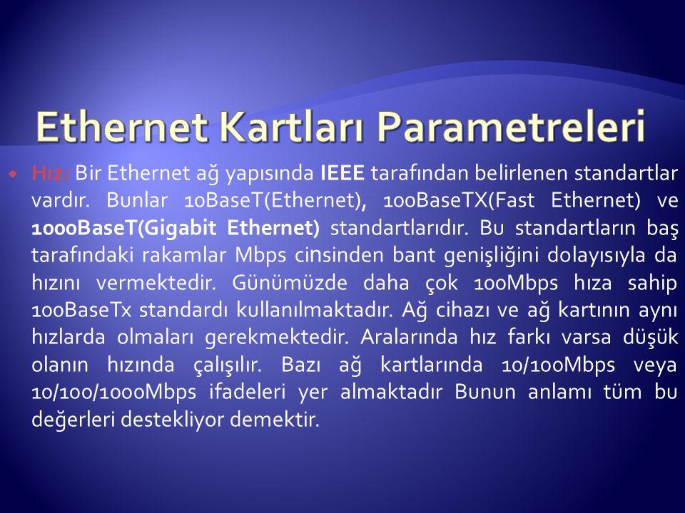 Ethernet Kartları Parametreleri